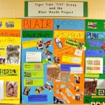 A colorful display board with pictures and data about Blair Woods.