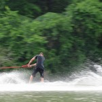 Photo of a person waterskiing.